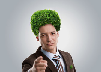 Man tree green hair