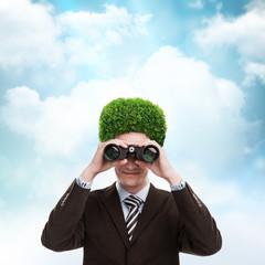 Man greenery head loving nature care ecology