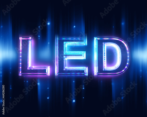 Leinwanddruck Bild Light-emitting diode (LED) - sign with beam