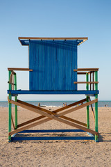 Wood Lonely lifeguard tower on the beach in Colombia