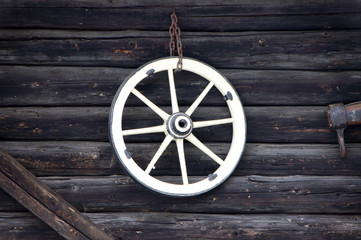 wheel white on black wood