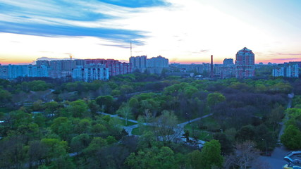 sunset above a city