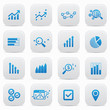 Business analysis buttons,Blue version,vector