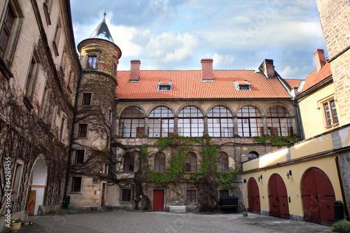 Poster Courtyard in Castle Hruba Skala, Czech Republic.