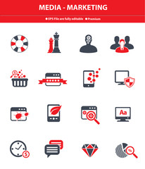 Media - Marketing icons,Red version,vector