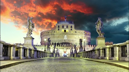 Castel Sant Angelo from bridge, Rome.Time lapse