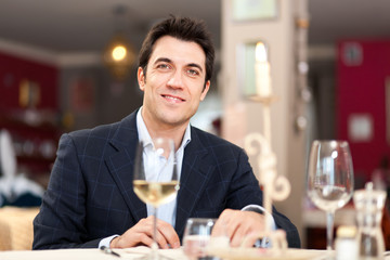 Man having dinner in a restaurant