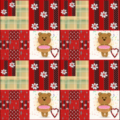 Seamless kids pattern with teddy bears patchwork
