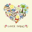 Stylized heart with summer symbols