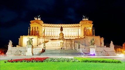 Vittorio Emanuele at night - Rome, Italy, Time lapse