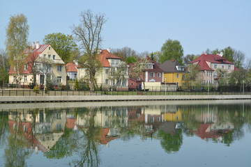 Kaliningrad.  The cottage settlement on the bank of the Grain la