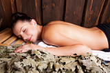 Beauty relaxing in bathhouse. poster