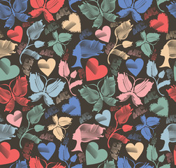 Kitschy background with butterflies, flowers & hearts