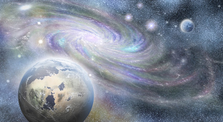 spiral galaxy and planets  in universe