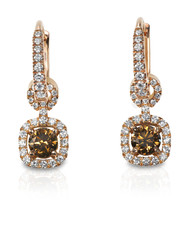 Chocolate Brown Diamond drop style dangle Earrings