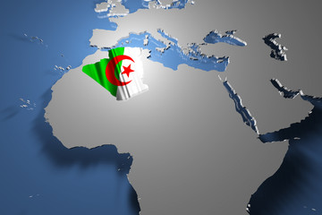 Algeria Country Map on Continent 3D Illustration