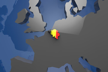 Belgium Country Map on Continent 3D Illustration