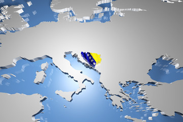 Bosnia and Herzegovina Country Map on Continent 3D Illustration