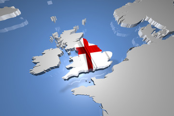 England Country Map on Continent 3D Illustration