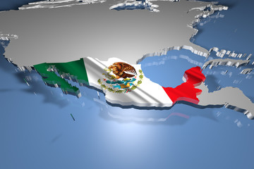 Mexico Country Map on Continent 3D Illustration