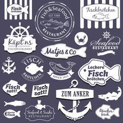 Vector Set Fish&Seafood Restaurant and Fastfood