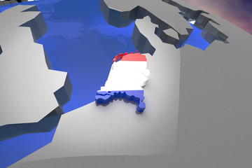 Netherlands Country Map on Continent 3D Illustration