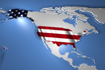 United States of america USA Country Map on Continent 3D Illustr