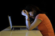 Leinwanddruck Bild - Young student woman and computer crying desperate suffering
