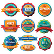 Set of retro vintage badges and labels. Flat design with long sh