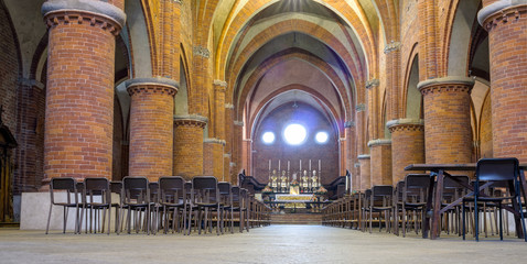 Abbazia di Morimondo internal panorama color image