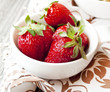 Strawberries in White Bowls
