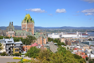 Old Quebec City skyline and St. Lawrence River