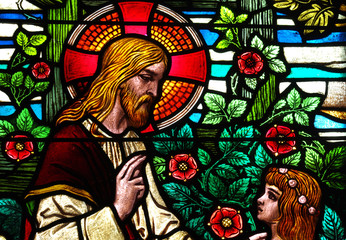 Jesus Christ speaking with a child