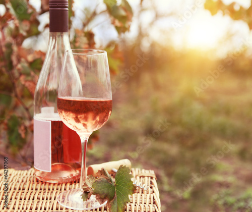 Poster Wijn One glass and bottle of the rose wine in autumn vineyard