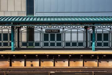 Train station platform at Yankee Stadium in the Bronx NYC