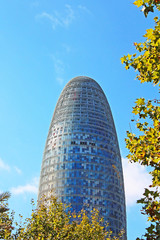 Torre Agbar in Technological District in Barcelona, Spain