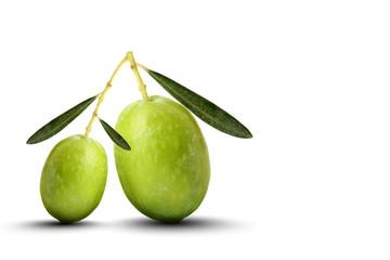 Oliva grande e oliva piccola sfondo bianco