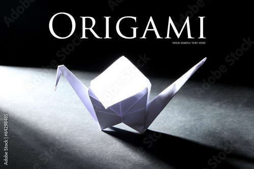 Deurstickers Geometrische dieren Origami crane on dark background with light