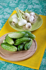 Onion and garlic cucumbers on a plate