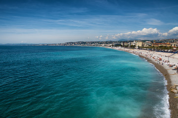 beautiful Beach of Nice, France