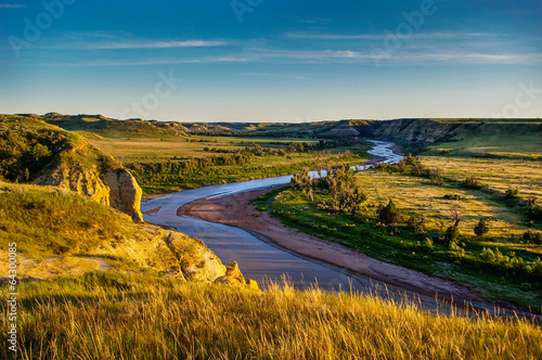 Foto Spatwand Rivier North Dakota Badlands