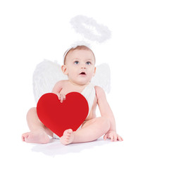 Cute infant with angel wings, nimbus and heart isolated on white