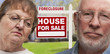 Depressed Senior Couple in Front of Foreclosure Sign and House