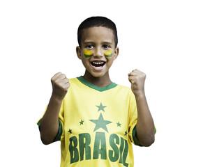 Brazilian fan boy celebrates on white background