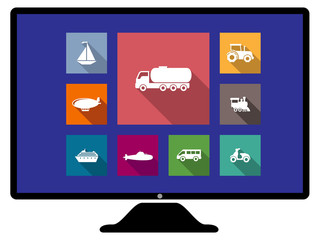 Set of flat transport icons on monitor