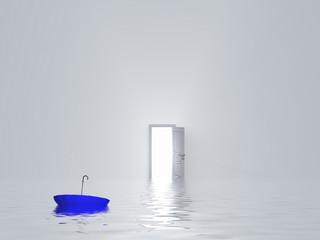 Man with umbrella in pure white room
