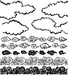 和雲 墨 毛筆イラスト