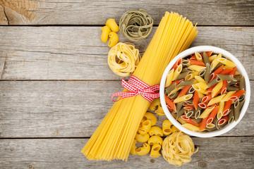 Pasta on wooden table