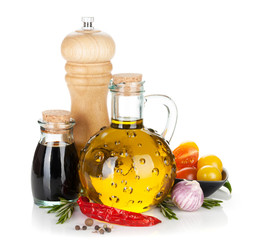 Olive oil and vinegar with spices