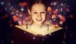 Leinwanddruck Bild - girl reading  magic book